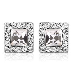 Ouxi Big Square Stud Earrings Made With Crystals From Swarovski