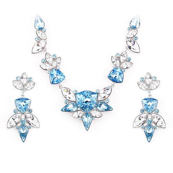 Zena Elegant Blue Earrings & Necklace Set Made With Crystals From Swarovski