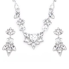 Zena Elegant Silver Earrings & Necklace Set Made With Crystals From Swarovski