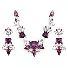 Zena Elegant Purple Earrings & Necklace Set Made With Crystals From Swarovski