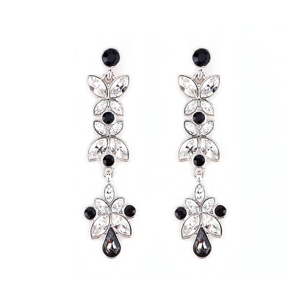 Zena Classic Black Earrings Made With Crystals From Swarovski