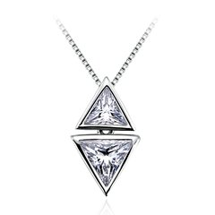 Zena 925 Sterling Silver Triangle Necklace Made With Crystals from Swarovski
