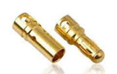 Gold Coated Banana Connector 4mm Bullet Style - Set of 3