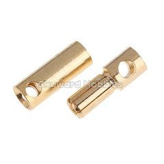 Gold Coated Banana Connector 6mm Bullet Style - Set of 3