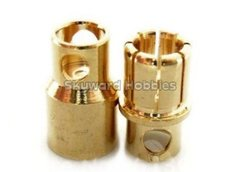 Gold Coated Banana Connector 8mm Bullet Style - Set of 3