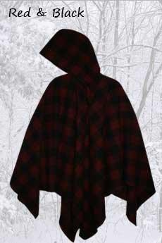 Wool Poncho Red and Black Plaid