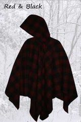Wool Poncho Red and Black Plaid