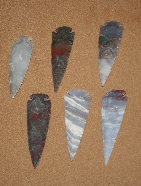 Hand Chipped Arrowheads 4 - 5""