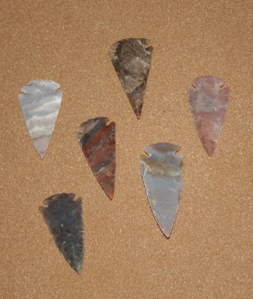 "Hand Chipped Arrowheads 2"" - 3"" price each"