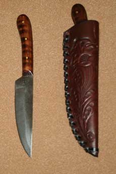 Medium English Flat Back w/Stamped Leather Belt Sheath