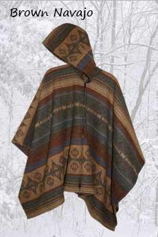 Wool Poncho Brown Navajo