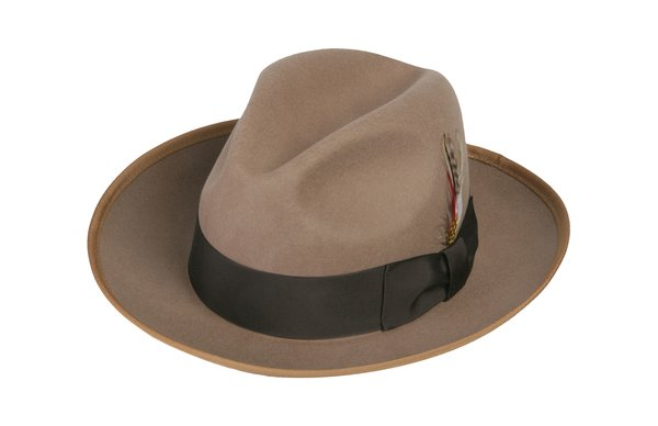 Gangster Fedora Hat in Camel / Tan #NHT23-74