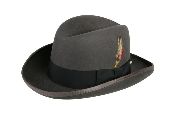 Godfather Homburg Fedora Hat in Steel Grey with Black Band #NHT25-02B