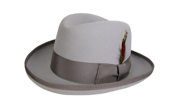 Godfather Homburg Fedora Hat in Rain Drop Silver with Tan Band #NHT25-12