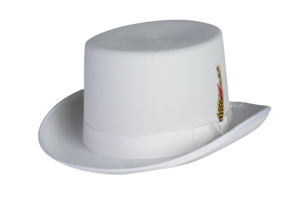 Deluxe Morfelt Top Hat in White #NHT30-70