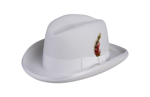 Godfather Homburg Fedora Hat in White #NHT25-70