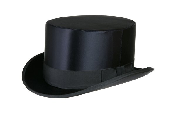 NON - Collapsible Silk Satin Top Hat in Black #NHT17-01