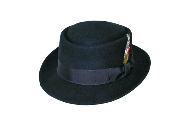 Crushable Pork Pie Hat in Black #NHT40-01