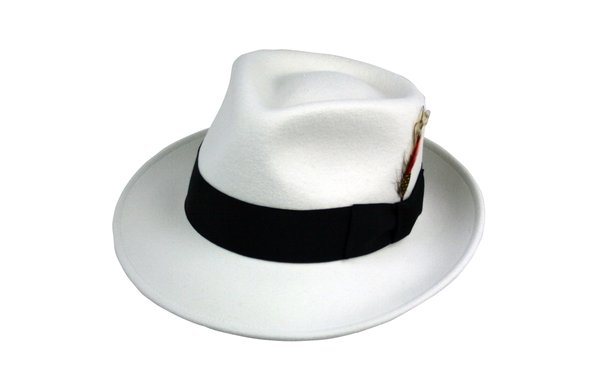 Kent Crushable Trilby Fedora Hat in Soft White with Black Band #NHT37-70B