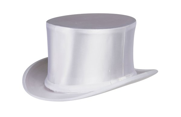 Collapsible Silk Satin Top Hat in White #NHT16-70