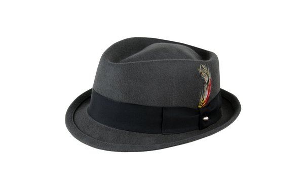 Dylan Stingy Brim Fedora Hat in Steel Grey with Black Band #NHT102-02B