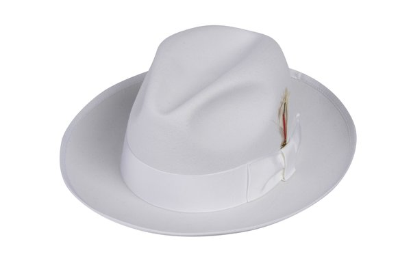 Gangster Fedora Hat in White #NHT23-70