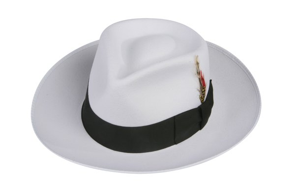 Zoot Fedora Hat in White with Black Band #NHT19-70B