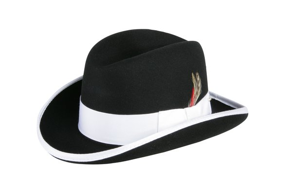 Godfather Homburg Fedora Hat in Black with White Band #NHT25-01W