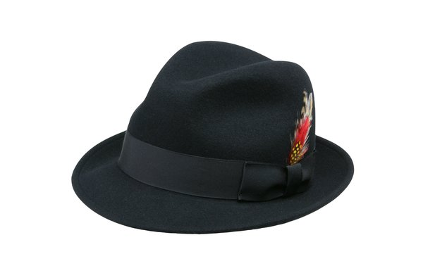 Jake Crushable Pinchfront Fedora Hat in Black #NHT34-01