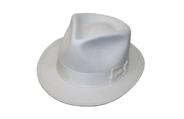 Goodfellas Pinchfront Fedora Hat in White #NHT26-70