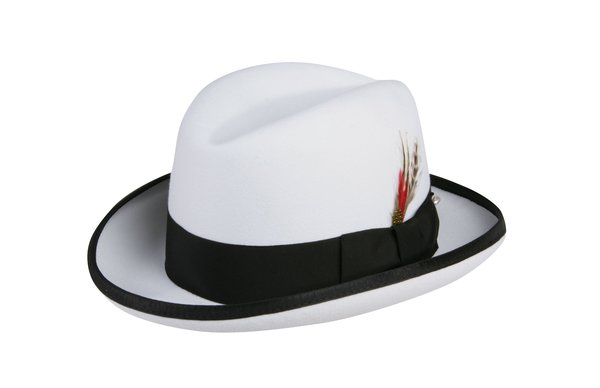 Godfather Homburg Fedora Hat in White with Black Band #NHT25-70B