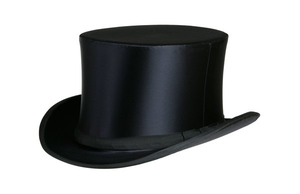 Collapsible Silk Satin Top Hat in Black #NHT16-01