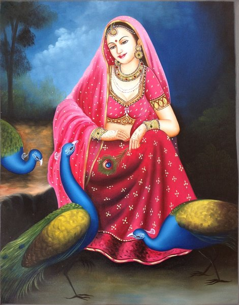 Beautiful Rajasthani Lady Canvas Paintings Online