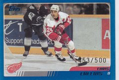 Chris Chelios 2003-04 Topps Hockey card #4 Blue Parallel #d 453/500