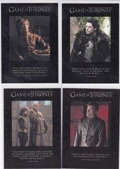 Game Of Thrones Quotables Insert card Choose Your numbers from the list