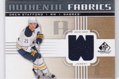 "Drew Stafford 2011-12 SP Game Used Hockey Authentic Fabrics Gold Jersey card AF-DW ""W"""
