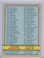 1972-73 O-Pee-Chee Hockey 2nd Series Checklist card #190 Unmarked