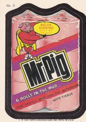 "1985 Topps Wacky Packages Sticker # 3 ""Mr Pig"" Puzzle Back"