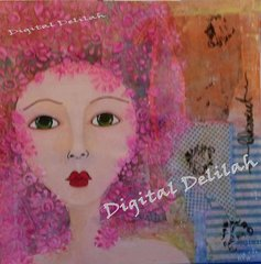 "Reiki Charged, Original Acrylic Painting, Mixed Media Collage ""Marie A"" The Prish within this piece is Humbleness"