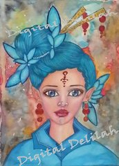 Reiki Charged, Original Watercolor, Mixed Media, Davena