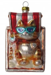 """Just Chilin'"" Cat Glass Ornament"