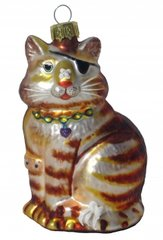 """King of The Block"" Cat Glass Ornament"