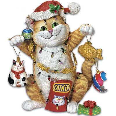 Danbury Mint Christmas Cat Astrophe Figurine By Gary