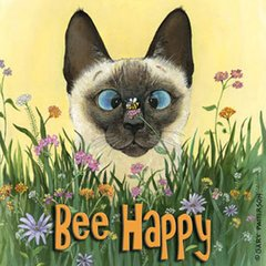 Bee Happy Cat Magnet