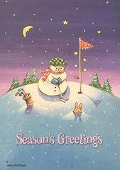 Golfing Snowman Christmas Cards