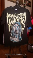 "ARMAGEDDON AWAITS ""Death Wish"" T-shirt by Benjamin Lande black SMALL raided from Kodie Testa (Narrow Hearts)"