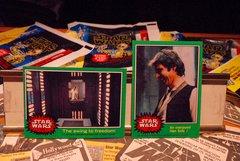 STAR WARS 1977 trading cards #251 & #219, Han Solo, Luke Skywalker, Princess Leia Organa ORIGINAL