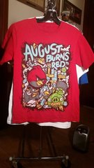 AUGUST BURNS RED Angry Birds print red T-shirt SMALL raided from Kodie Testa of Narrow Hearts