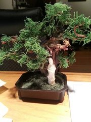 Antique Bonsai Tree (artificial) with porcelain geisha, cast iron base