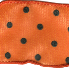 Celebrate It Ribbon 1.5 Inch Orange and Black Dot Grosgrain Wired Edge Ribbon